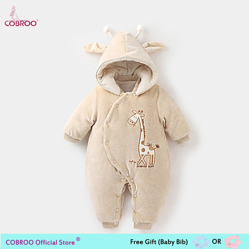 COBROO Thick Baby Romper Winter 2018 100% Cotton 0 6 Month Infant Clothes Baby Girl Boy Jumpsuit Hooded Kid Outerwear 750020