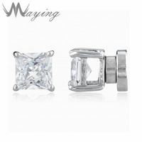 Silvertone With Clear Cz Square Magnetic Stud Earrings For Womens Mens Jewelry Non Piercing Cubic Zirconia