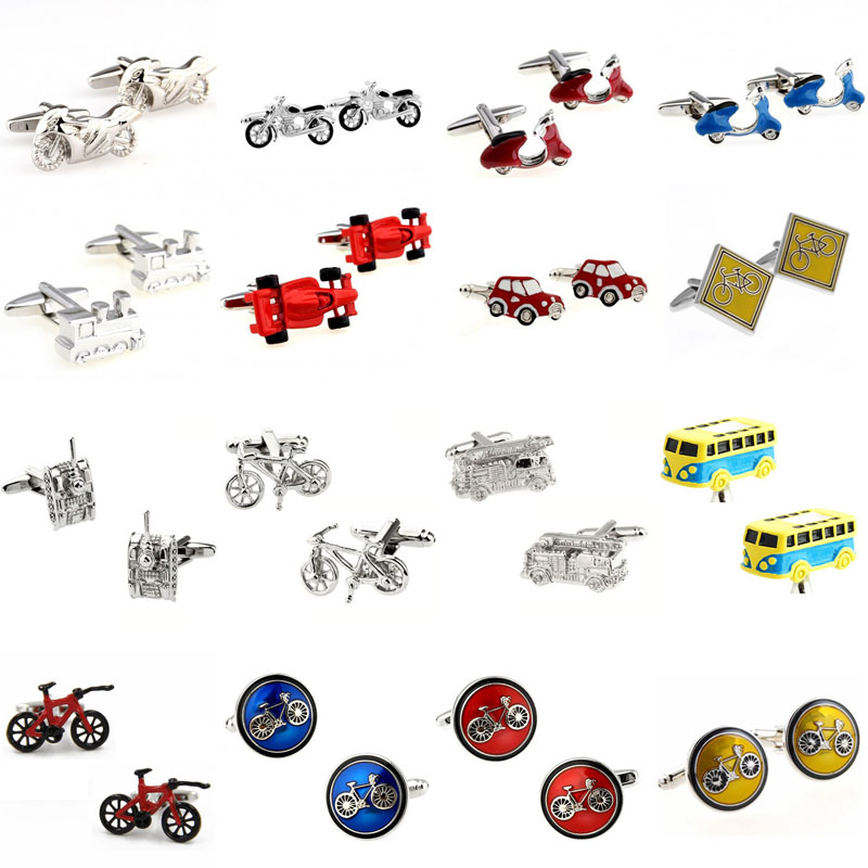 Motor Bike Bicycle Sports Car Bus Tractor Tank Fire Fighting Truck Cufflink Cuff Link 1 Pair Big Promotion