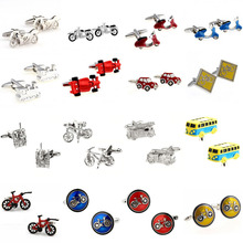 Motor Bike Bicycle Sports Car Bus Tractor Tank Fire Fighting Truck Cufflink Cuff Link 1 Pair Big Promotion cheap Tie Clips Cufflinks Fashion TZG093 Classic Cuff Links Simulated-pearl Stone Various Stainless Steel