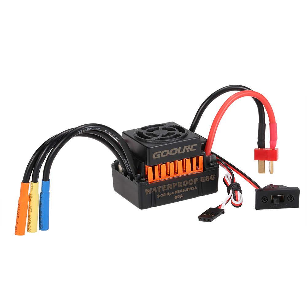 GoolRC impermeable 60A sin escobillas ESC controlador de velocidad eléctrica con 5,8 V/3A BEC para coche 1/10 RC