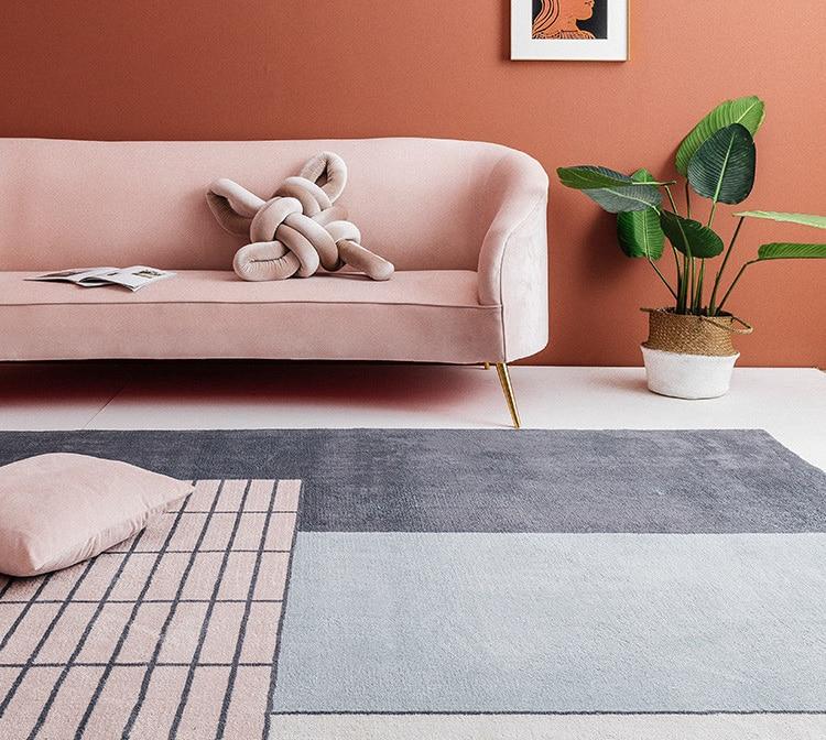 Ins français chic danemark salon salon tapis géométrique rayure chevet tapis bohême géométrie moderne tapis design style nordique