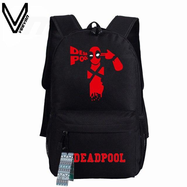 ba02d8351f1f 2016 New Deadpool Backpack Marvel Comics Superheros Shoulder School Bag For  Teenagers Canvas Luminous Backpack Travel