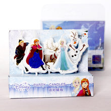 Disney 5pcs/lot Frozen princess Theme Cake Candles Kids Birthday Decoration Party Cake Topper Party Supplies Kid's Gift candle(China)