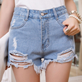Womens Short 2016 Summer New Style Hole Punk Rock Fashion High Waisted Denim Shorts Vintage Ripped Short Jeans Sexy Femme