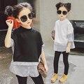2017New для Весны большие девочки Полный Лоскутное Моды Тройники О-Образным Вырезом для 3-14Ygirls