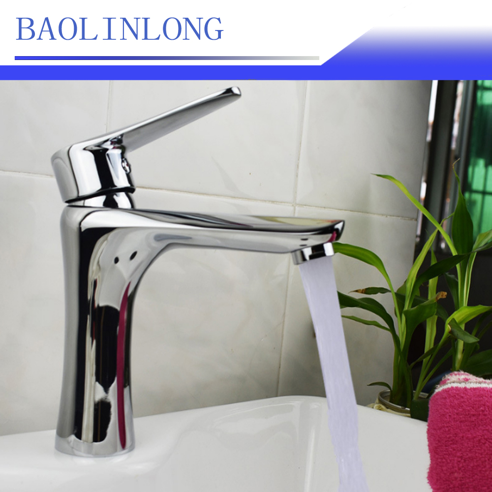 BAOLINLONG New Style Brass Deck Mount Bathroom Faucet Vanity Vessel Basin Sinks Mixer Faucet Tap