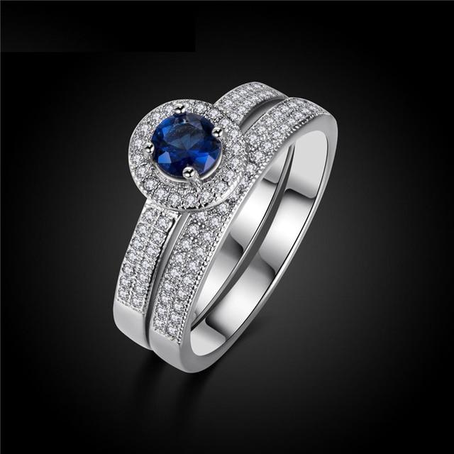 H: HYDE Argento Colore Blu Anello di Cristallo Set Fashion Wedding & Engagement