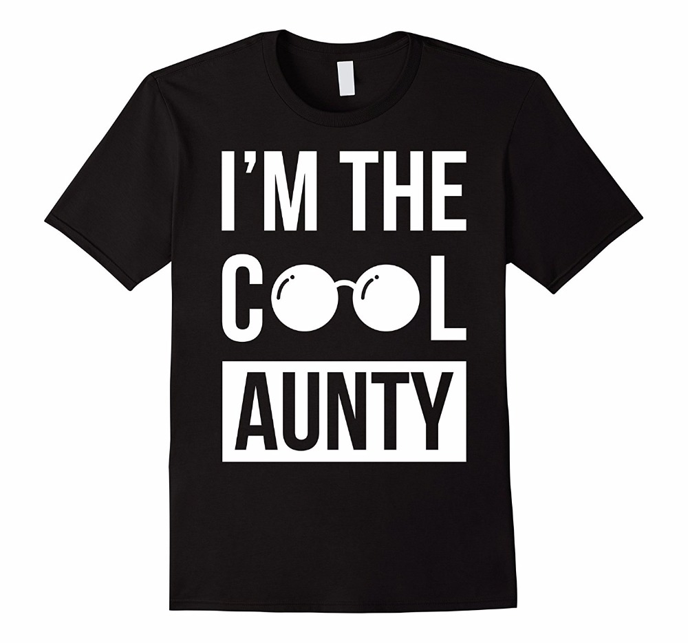 Biker T Shirts Mens O-Neck Im The Cool Aunty Funny Cute Aunt T-Shirt Short Sleeve Christmas Shirt