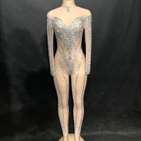 Для женщин Этап одежда Чистая Пряжа горный хрусталь комбинезон сверкающими боди с кристаллами для ночного клуба вечерние модные певица шик