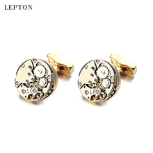 Hot Sale Watch Movement Cufflinks Of Immovable Lepton Brand Stainless Steel Steampunk Gear Watch Mechanism Cuff links for Mens