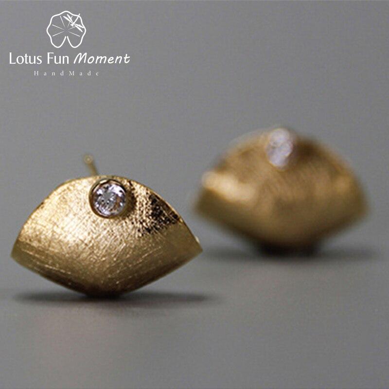 Lotus Fun Moment réel 925 argent Sterling zircone naturelle mode bijoux créatif sac à main Design boucles d'oreilles meilleur cadeau