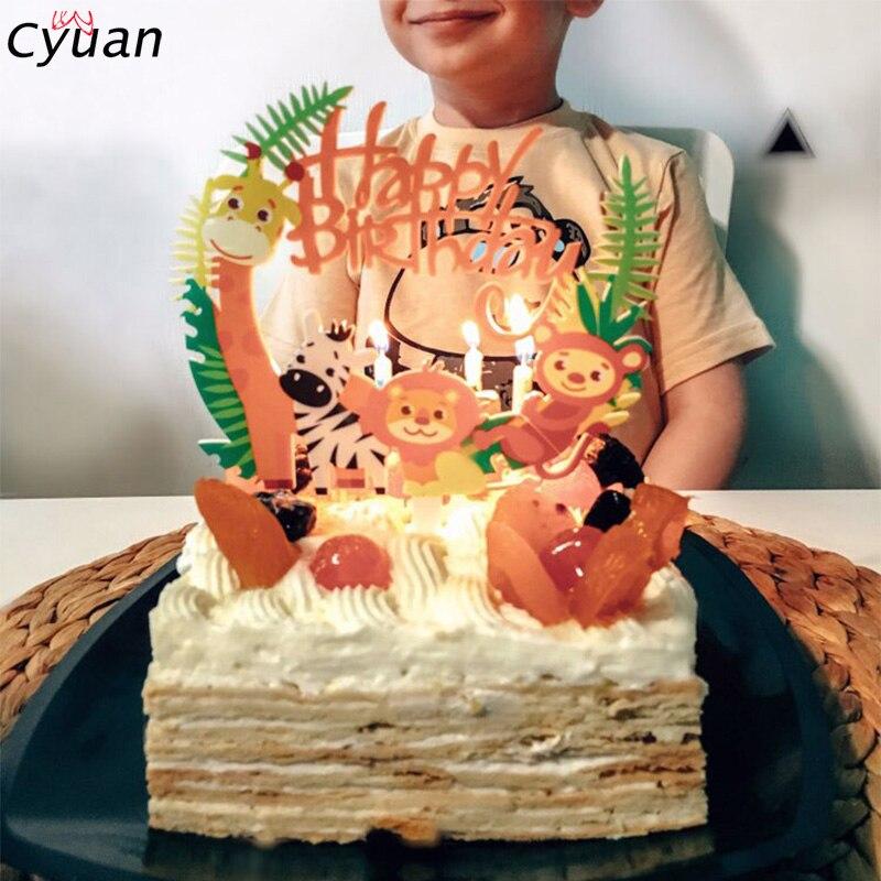 Incredible Cyuan Happy Birthday Cake Toppers Animal Decorations Safari Party Funny Birthday Cards Online Amentibdeldamsfinfo