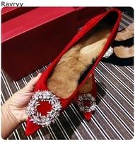 Rhinestone decor winter warm fur woman's high heels red flock female shoes slip on lady Wedding dress shoes pointed toe stiletto