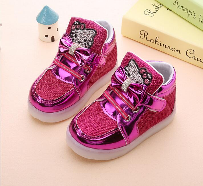 a837dd8df new children lighted casual shoes high rhinestone hello kitty shoes for girls  baby kids shoes mesh travel shoes girls boots-in Sneakers from Mother & Kids  ...