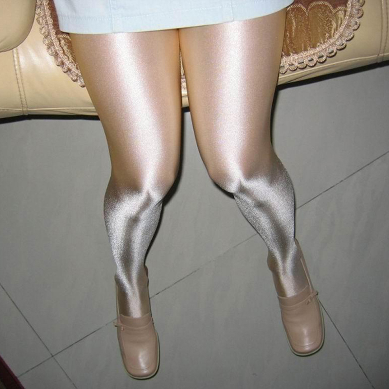 Women's sexy oil Shiny Closed Crotch 100D pantyhose sexy Stockings hose Dance Fitness Leggings sexy lingerie