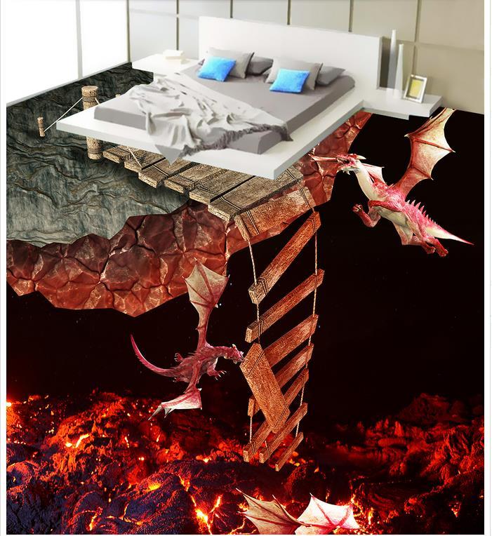 Photo floor wallpaper 3d  PVC waterproof floor fire Floor wallpaper murals wall Photo floor wallpaper 3d stereoscopic