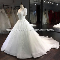 100 Real Picture Lace Wedding Dresses 2016 Hand Flowers Long Bridal Gowns Off The Shoulder Bridal