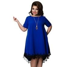 Летнее мягкое платье с открытой спиной, женская одежда, свободное синее платье с коротким рукавом, кружевные платья, большой размер 6XL