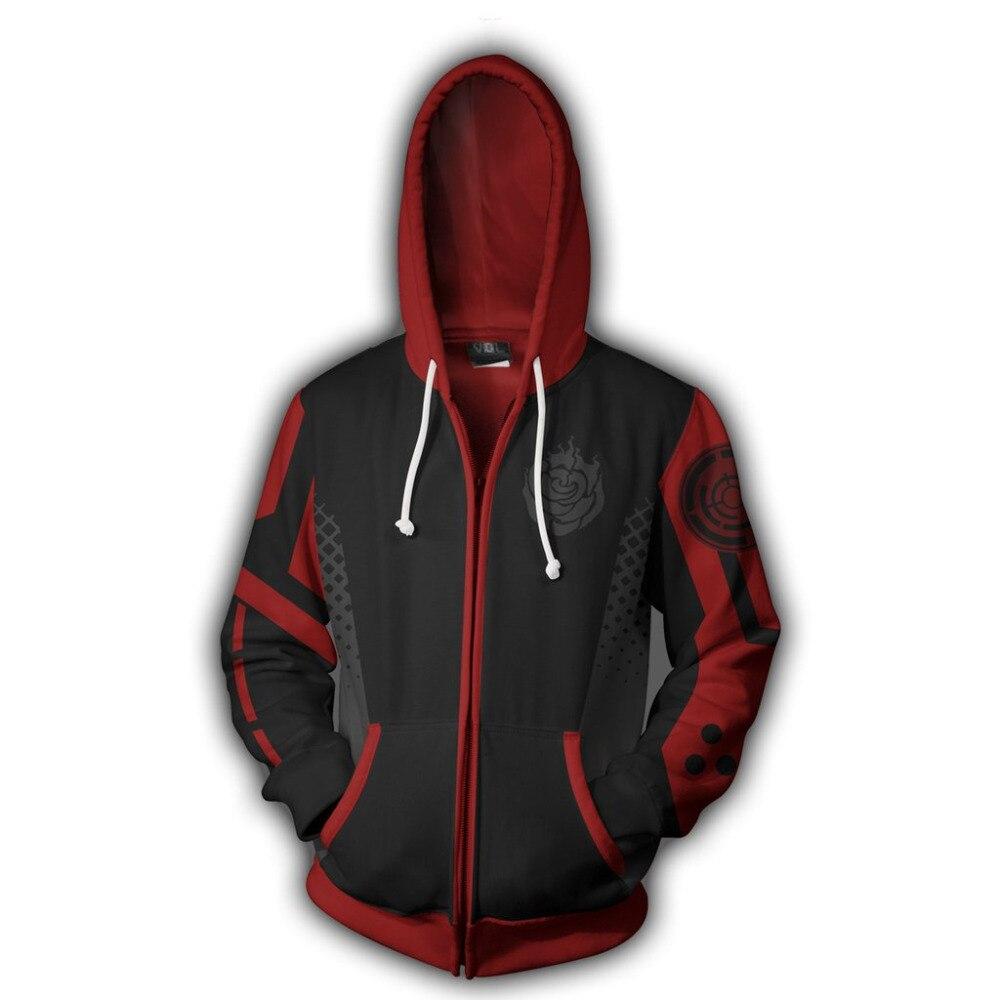 2019 Anime RWBY Season One Hoodie 3D Sweatshirt Cosplay Costume Zip Up Hooded Jacket Coat Men Women Fashion Streetwear Size 5XL