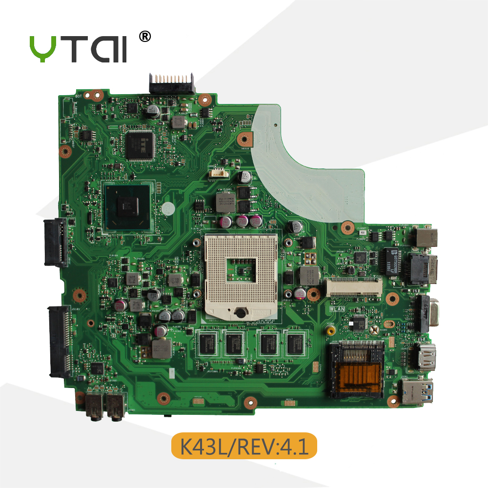 YTAI K43L REV:4.1 Mianboard for ASUS K43L Laptop Motherboard REV:4.1 USB3.0 PGA989 Mianboard fully Tested for asus n76v n76vm n76vj n76vz laptop motherboard rev 2 2 pga989 with graphic full test