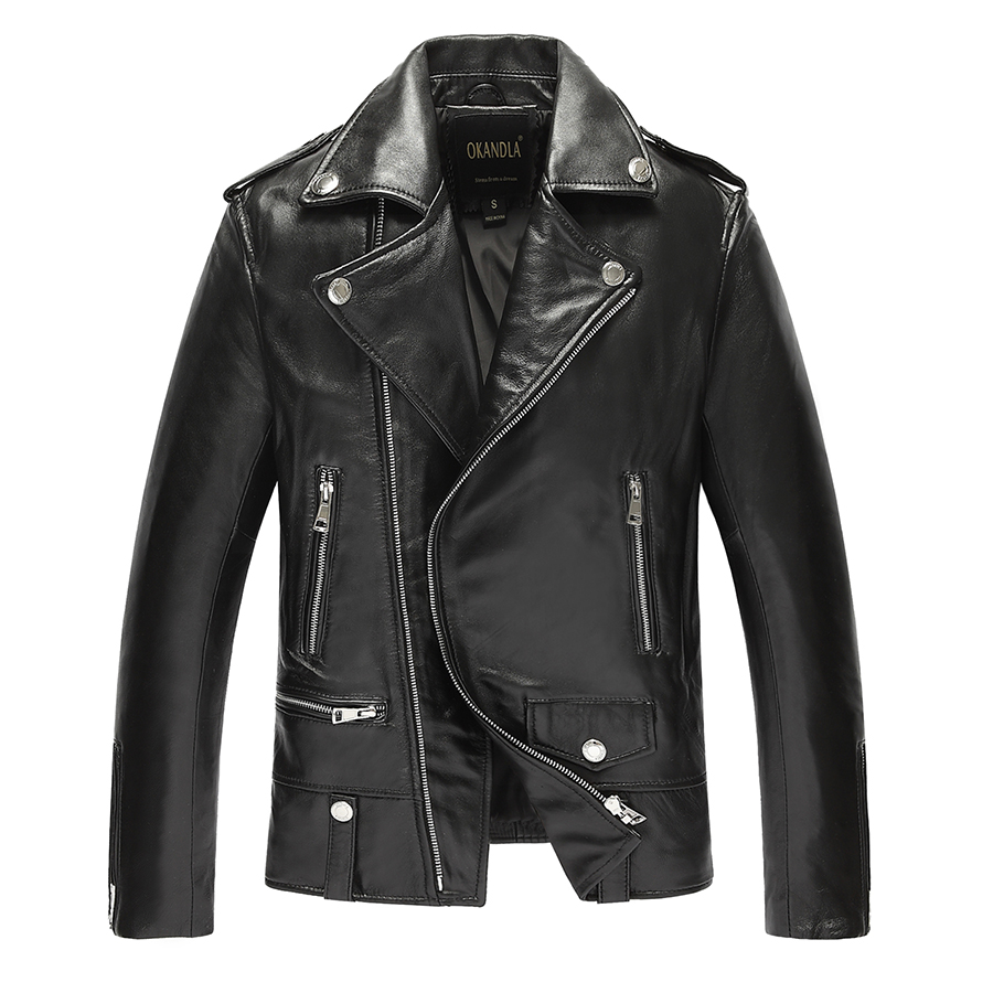HTB1proFaorrK1RkSne1q6ArVVXaL Free shipping.brand new black mens sheepskin jacket.classic biker soft genuine leather coat.fashion plus size style slim jackets