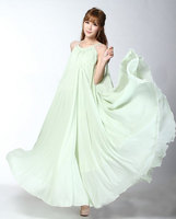 Pale Green Long Formal Bridesmaid Wedding Party Guest Maxi Dress Holiday Summer Floating Sundress