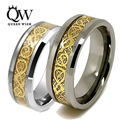 Queenwish 6/8mm Newest Tungsten Carbide Wedding Rings Gold Celtic Dragon Carbon Fibre Statement Mens Charms Infinity Jewelry