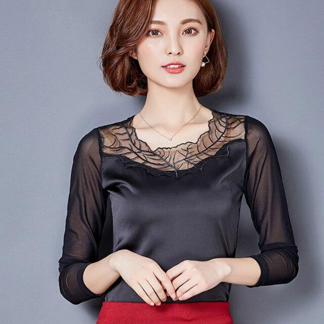 bffdc69a284 Осенняя одежда 2016 года Длинные рукава Вышивка Кружевная блуза тело  женщины атласная рубашка Женская атласная блузка