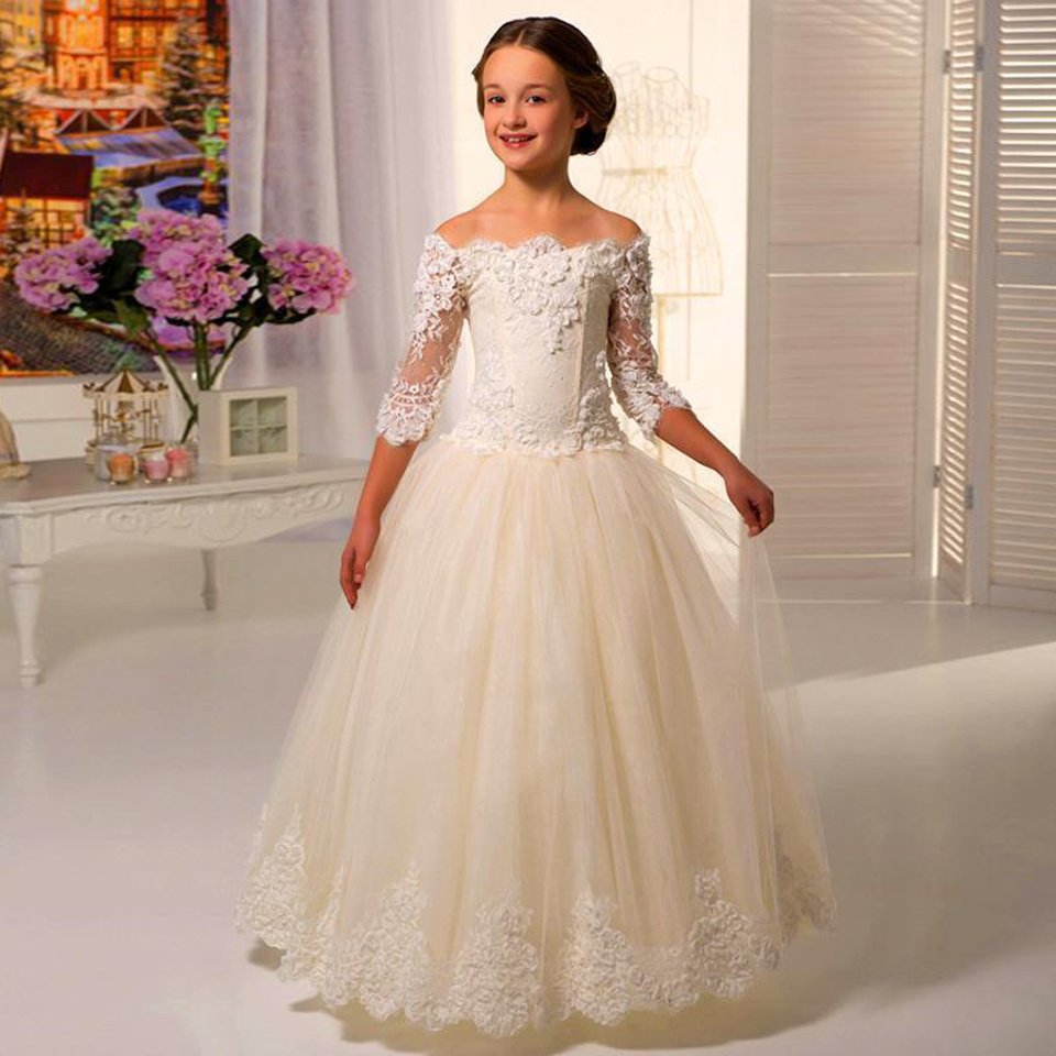 Childrens Dresses For A Wedding: New HOT Lace Flower Girl Dress Wedding Children Bridesmaid