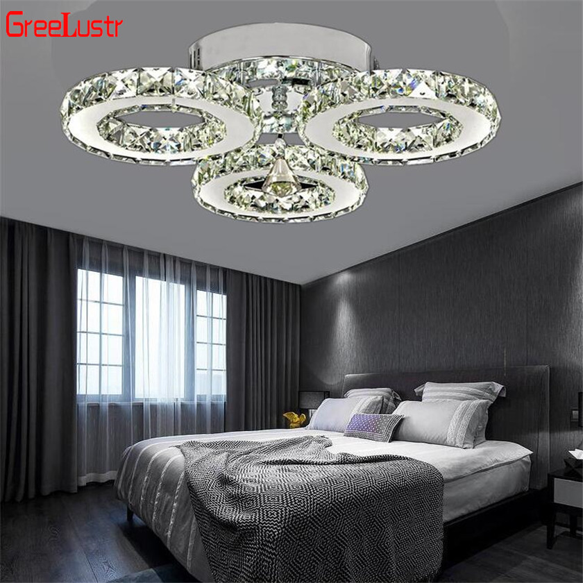 Modern K9 Crystal LED Ceiling Lights Stainless Steel 3 Rings Lusters Plafond For Kitchen Dinning Room
