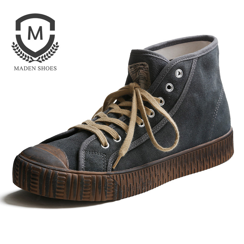 Maden 1983s Dirty Mud Color Men Sneaker Solid Color Simple Basic Classic Grey Sporty Casual Shoes Vulcanized Lace-up High-top