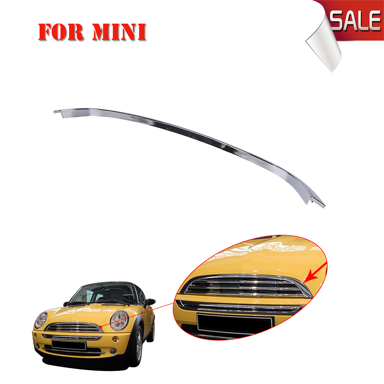 Chrome Front Bumper Hood Moulding Trim Frame Strip For Mini Cooper John / S / Clubman / JCW R55 R56 R57 OEM 51132751040 #W146 защита картера rival 333 8205 1 mini clubman 2015 v 1 5 mini clubman s 2015 v 2 0 mini cooper 2014 v 1 5 mini cooper s