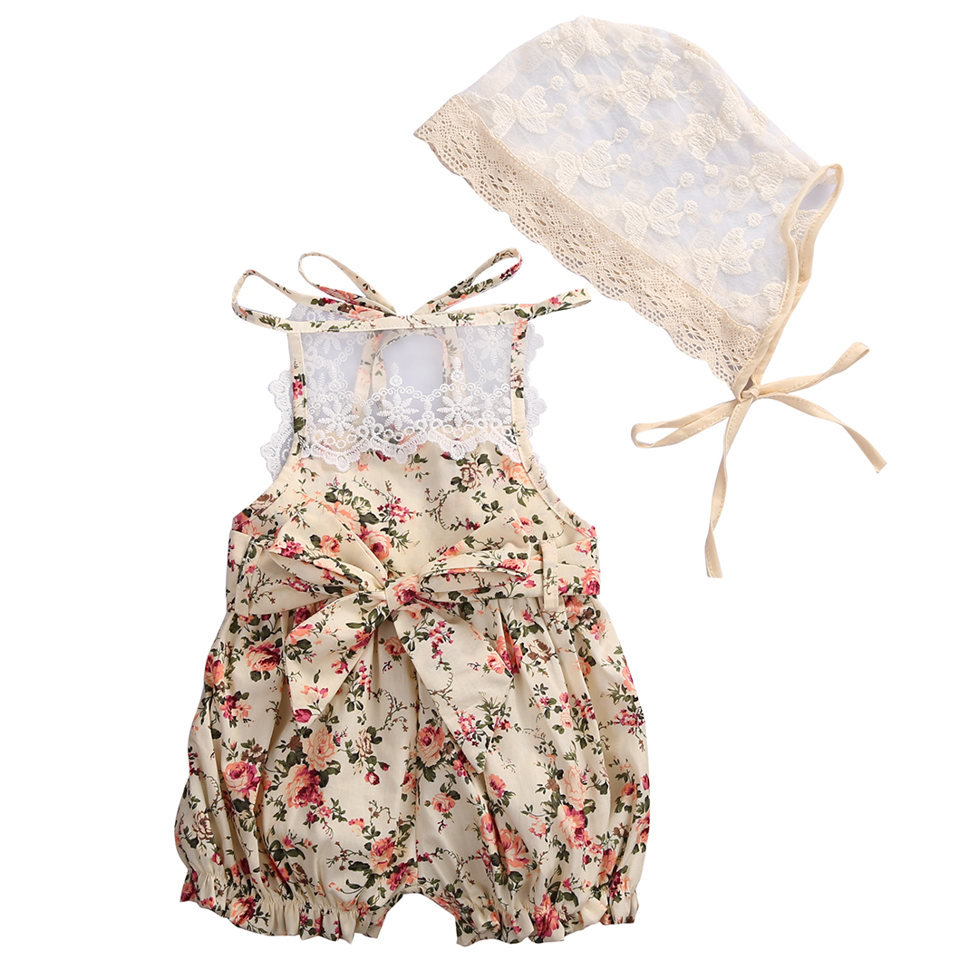 2017 Lovely Newborn Baby Girl Clothes Set Summer Floral Lace Romper Halter Jumpsuit +Hat 2PCS Outfits Toddler Kids Sunsuit 0-18M 2pcs ruffles newborn baby clothes 2017 summer princess girls floral dress tops baby bloomers shorts bottom outfits sunsuit 0 24m