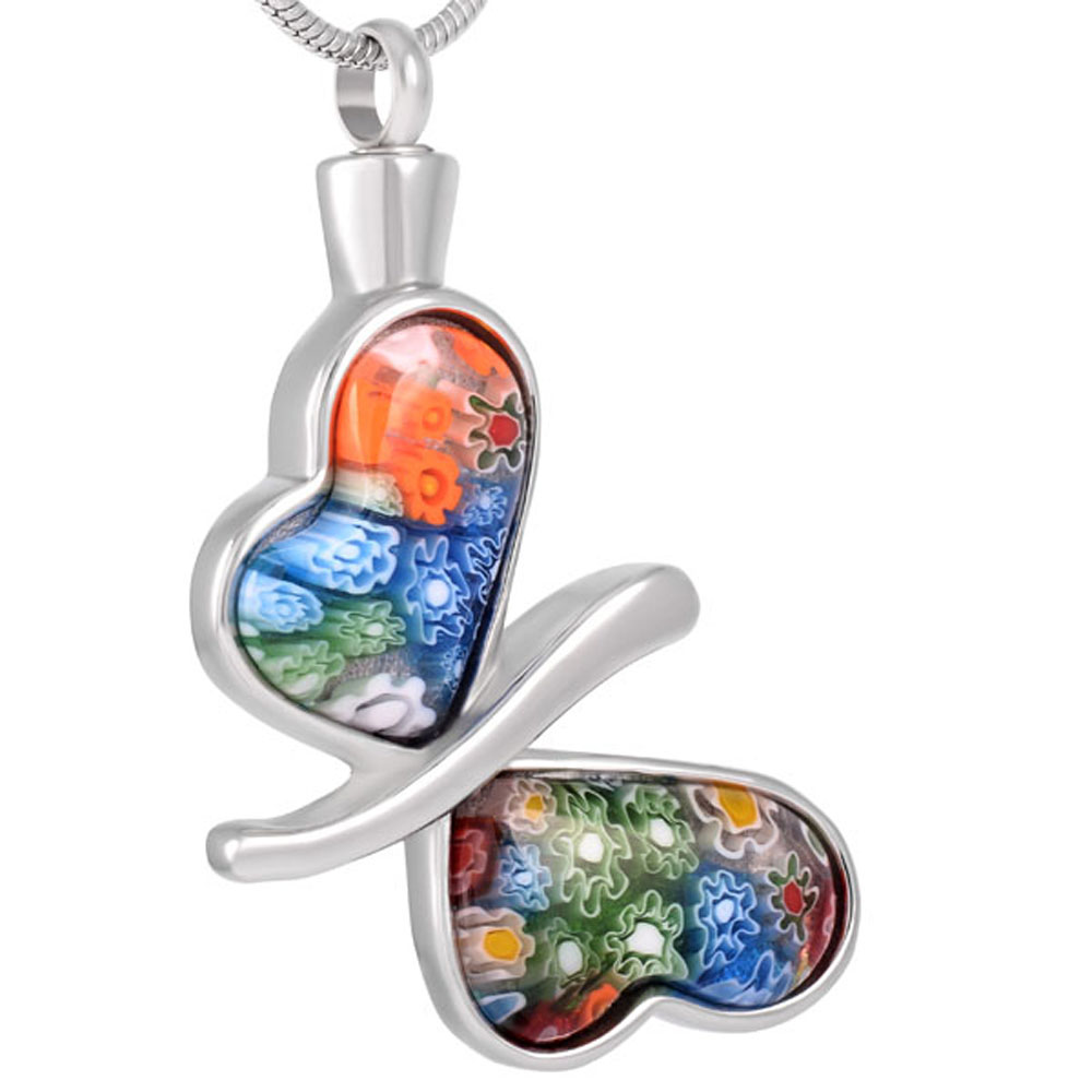 CMJ8117 Beautiful Butterfly Shape Stainless Steel Urn Pendants Necklace Pet Memorial Jewelry (Pendant Only )