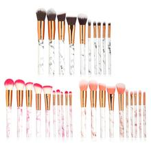 10PCS Makeup Brushes Set Professional Powder Foundation Brush Concealer Eye Shadow Lip Blending Make Up Marble Pattern