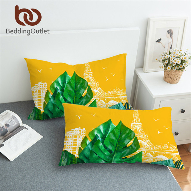 BeddingOutlet Plant Pillowcase France Tower Sleeping Pillow Case Leaf Leaves Bedding Yellow and Green Pillowcase Cover One Pair