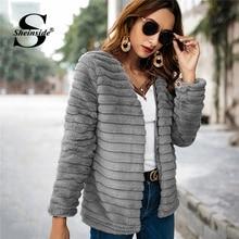 Sheinside Casual gris sólido de imitación piel de oso de peluche abrigo de invierno  chaqueta dama chaqueta 2018 invierno espesar. ff439f26dcfe