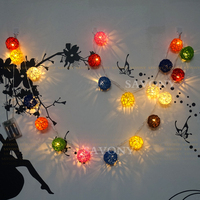 Battery Operation 10 LED 1M Christmas 4CM Multicolor Rattan Holiday Decoration String Warm White Lights