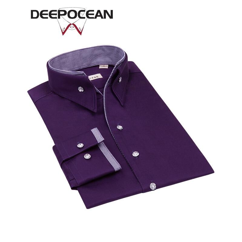 Deepocean Brand Shirt Men Formal Shirts Plain Purple Fashion Long Men's Shirt Men Tops 10XL Plus Camisa Masculina Shirts X76545L