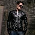 1 шт. мужские Slim fit Кожа blazer куртки 2017 Весна Горячие Моды ИСКУССТВЕННАЯ кожа молния сращивание блейзер Мужчины Тощий куртка пальто мужчин
