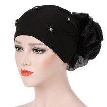 Muslim Women Bead Cotton Flower Stretch Turban Hat Cancer Bandanas Chemo Beanies Caps Headwear Headwrap Hijab Hair Accessories