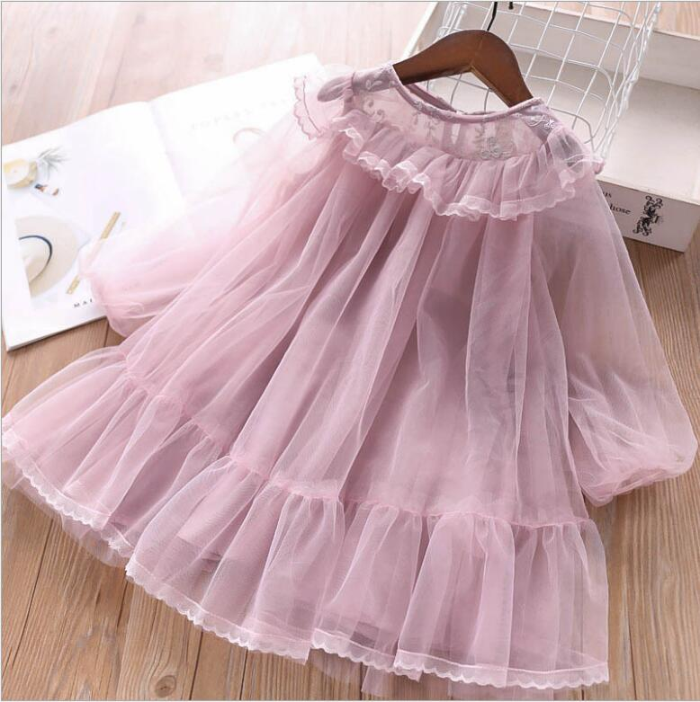 Girl Princess Dress 2019 Girls Spring Fashion Ruffles Lace Long Sleeve Party Tutu Dresses Costumes For Children Kids Clothing