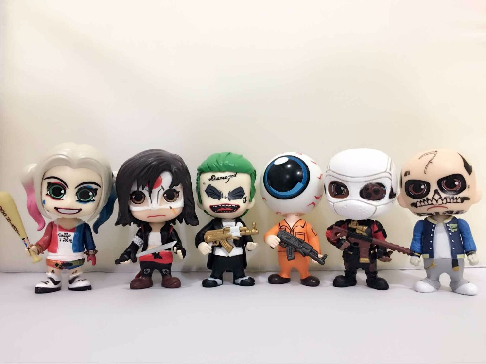 J.Ghee Suicide Squad Joker Harley Quinn Deadshot Katana Eyeball Man PVC Action Figures Collectible Model Toys 6-pack Boxed hot figures toys suicide squad harley quinn deadshot the joker pvc 10cm action figure collection model movie kids toys with box