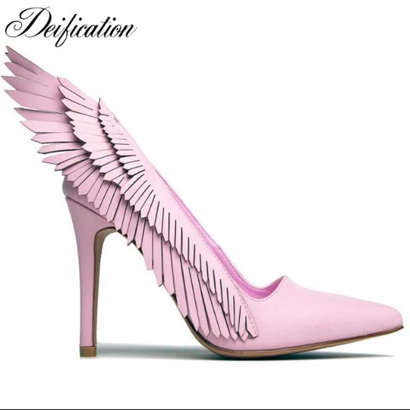Deification Woman Sexy Stiletto High Heels Fashion Wings Ruffles Party Wedding Shoes Slip-On Designer Shoes Women Luxury 2019