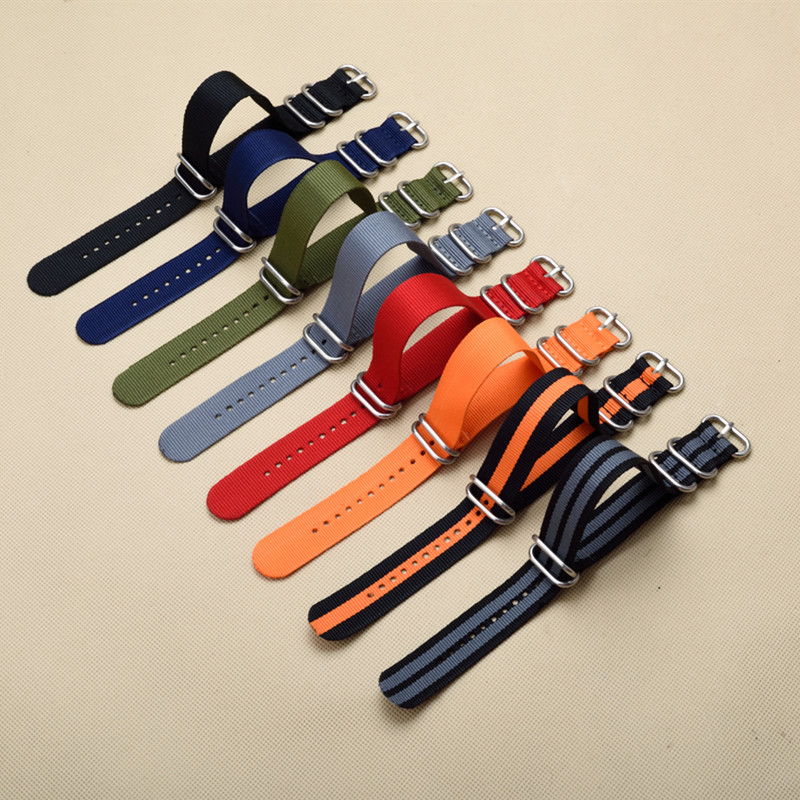 New 5 Ring Watchband Military Quality Nylon ZULU NATO Strap 18mm 20mm 22mm 24mm For G10