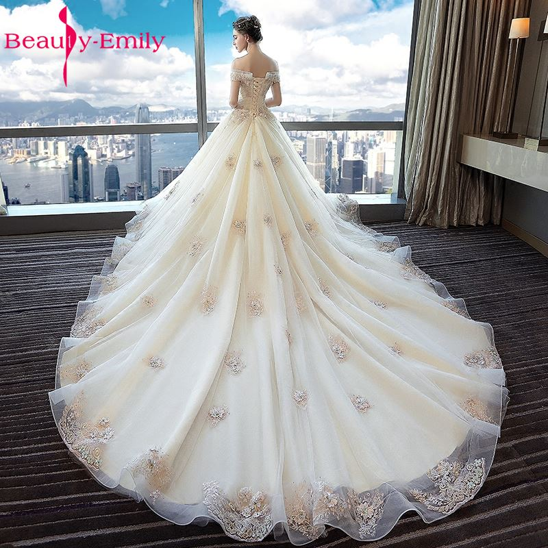 Beauty Emily Ivory Lace Up Sexy Ball Gown Wedding Dresses 2018 Formal Bridal Dresses Vestido De Novia Luxury Beads Bridal Dress