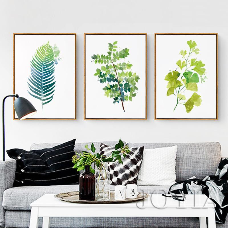 Leaf Prints Wall Decor Green Botanical Leaves Canvas Art Pictures Minimalist Watercolor Painting