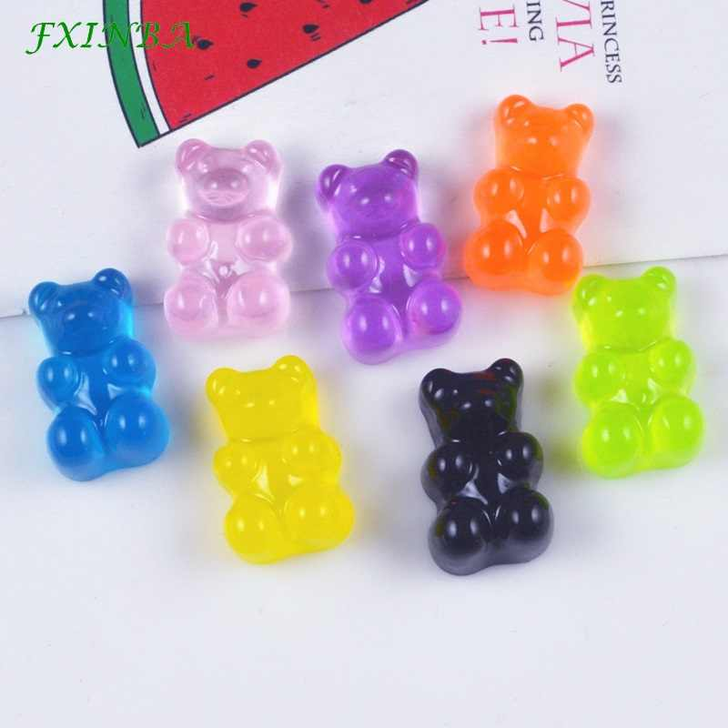 FXINBA 5Pcs/Lot Cute Resin Bear Charms For Slime Candy Polymer Clay DIY Cake Phone Decoration Slime Supplies Kit Sprinkles Toys