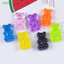 FXINBA 5Pcs/Lot Cute Resin Bear Charms For Slime Candy Polymer Clay DIY Cake Phone Decoration Supplies Kit Sprinkles Toys
